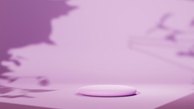 木の影の背景を持つ表彰台とピンクのシーンの3dレンダリング。ショー製品のモックアップ。