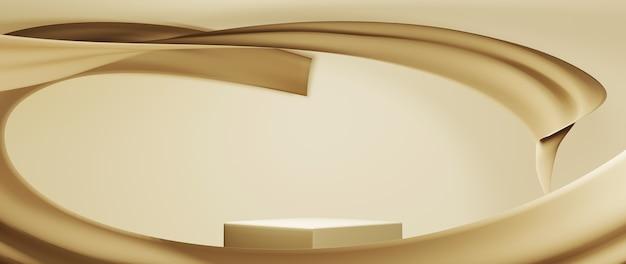 3d-рендеринг фона подиума для отображения косметических украшений кремом для кожи. фон макета для выставочного продукта.