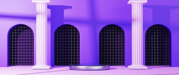 연단 배경의 3d 렌더링입니다. 쇼 제품에 대한 모형. 빈 원형 무대가 있는 빈 장면 쇼케이스.