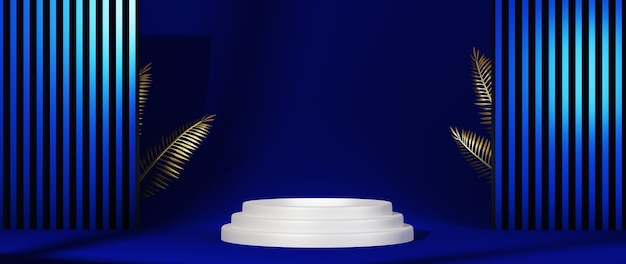 表彰台の3dレンダリング。幾何学的な構成の青い背景。