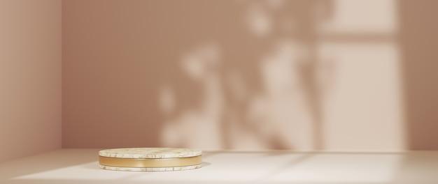 연한 갈색 방과 창 배경의 그림자에 제품을 표시하기 위한 연단의 3d 렌더링. 쇼 제품에 대한 모형.