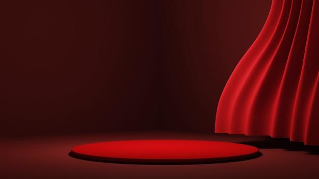 레드 룸 배경에서 제품을 표시하기 위한 연단의 3d 렌더링. 쇼 제품에 대한 모형.