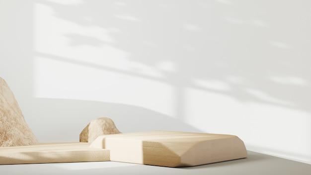 스킨 크림 화장품 장식을 표시하기 위한 연단의 3d 렌더링. 쇼 제품에 대한 모형 배경입니다.