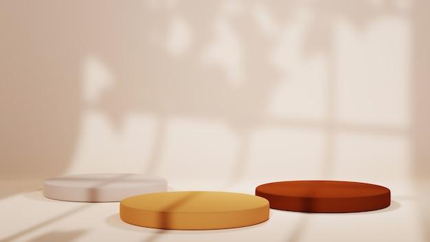 3개의 갈색 톤 배경을 표시하기 위한 연단의 3d 렌더링. 쇼 제품에 대한 모형.