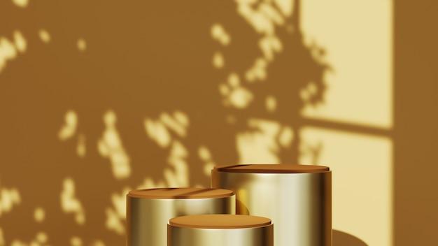 연한 갈색 방 배경에 3개의 제품을 표시하기 위한 연단의 3d 렌더링. 쇼 제품에 대한 모형.
