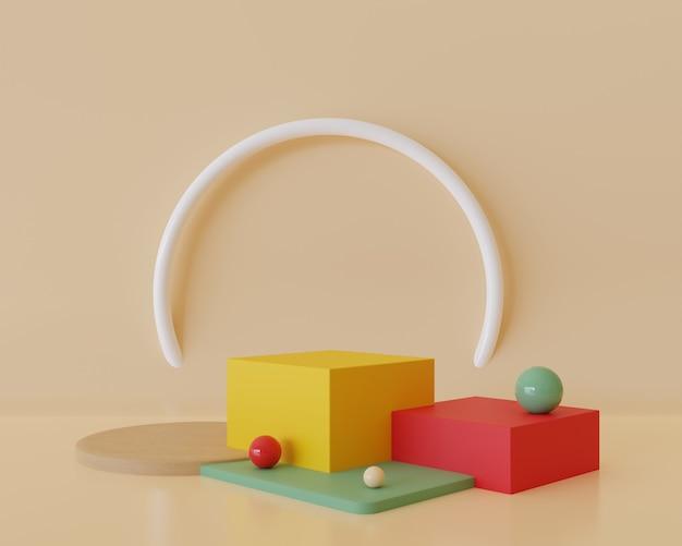 表彰台の最小限の抽象的な幾何学的背景の3dレンダリング