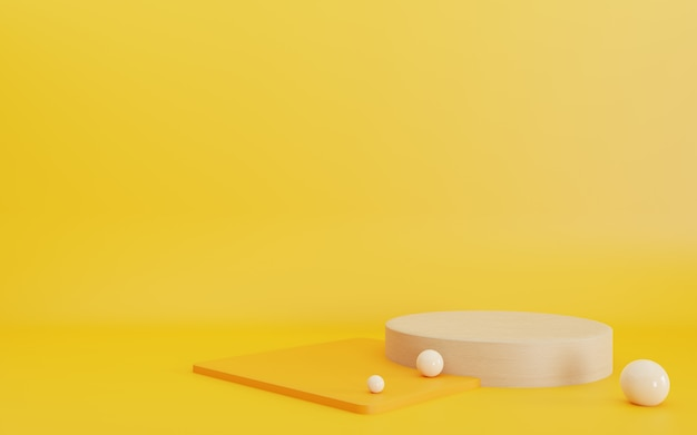 表彰台の最小限の抽象的な幾何学的な黄色の背景の3dレンダリング