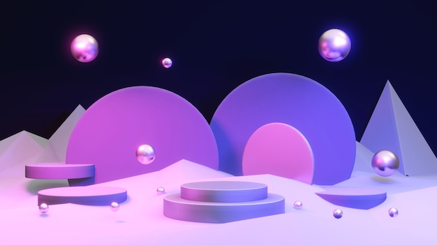 抽象ネオンライトダークテーマの表彰台製品プレゼンテーションディスプレイスタンドの3dレンダリング