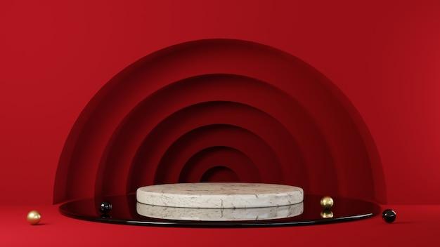 프레젠테이션 제품에 대한 연단 빨간색 배경의 3d 렌더링.