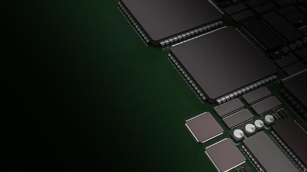 인쇄 회로 기판의 3d 렌더링