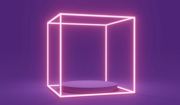 紫色の未来的な光るledラインライトスクエアを備えた製品スタンド表彰台ディスプレイの3dレンダリング