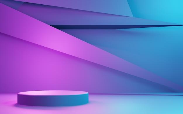 보라색과 파란색 추상적 인 기하학적 배경 광고 사이버 펑크 기술의 3d 렌더링
