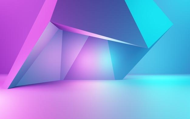 보라색과 파란색 추상적 인 기하학적 배경 광고 제품 디스플레이의 3d 렌더링