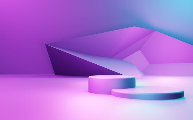 3d-рендеринг фиолетового и синего абстрактного геометрического фона рекламный дисплей продукта