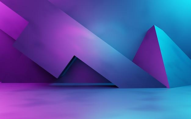 보라색과 파란색 추상적 인 기하학적 배경 사이버 펑크 개념 광고 기술의 3d 렌더링