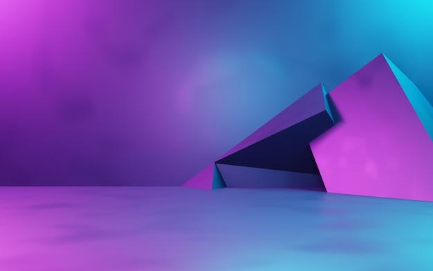 紫と青の抽象的な幾何学的背景の3dレンダリングサイバーパンクコンセプト広告技術
