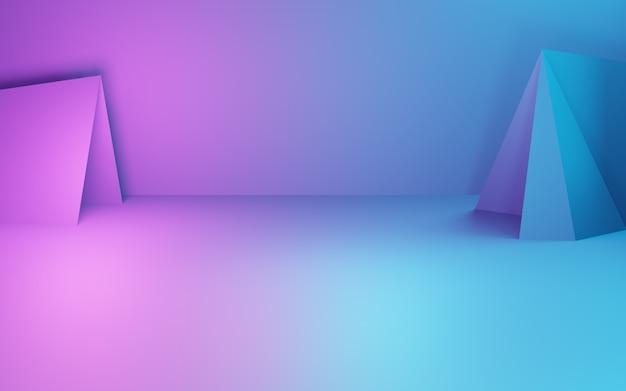 보라색과 파란색 추상적 인 기하학적 배경 사이버 펑크 개념 광고의 3d 렌더링