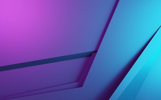 紫と青の抽象的な幾何学的背景の3dレンダリング