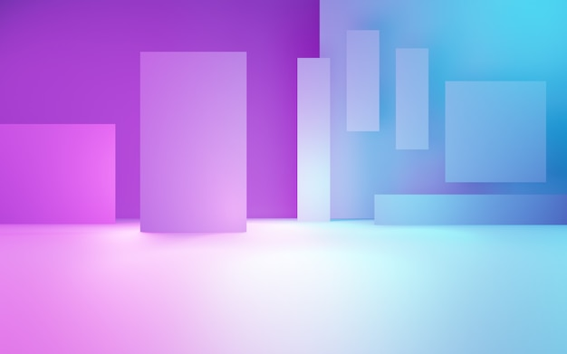 보라색과 파란색 추상적 인 기하학적 배경의 3d 렌더링