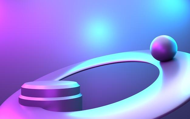 보라색과 파란색 추상 최소한의 개념 배경의 3d 렌더링