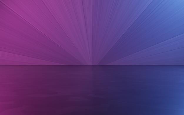 보라색과 파란색 추상 방 배경의 3d 렌더링
