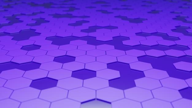 紫色の六角形の背景の3dレンダリング