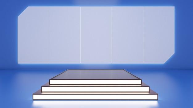 쇼 제품에 대한 직사각형 연단의 3d 렌더링