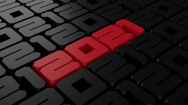 빨간색과 검은 색 2012 새 해 그림의 3d 렌더링