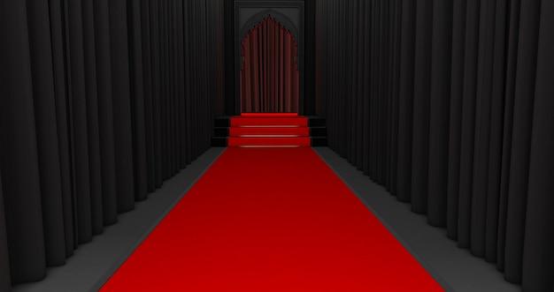 レッドカーペットと階段の3dレンダリング。最後にレッドカーペットイベントがある長いトンネルの通路。アラビア語のドアのデザイン