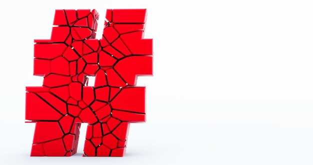3d-рендеринг красного треснувшего значка хэштега на белом фоне.