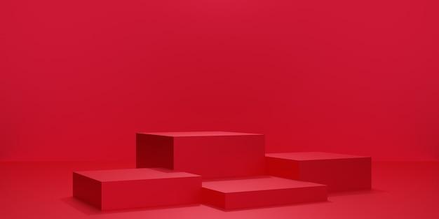 空のスタジオルーム、製品の背景、バレンタインデーの表示用のテンプレートモックアップ、愛の概念、正方形の幾何学模様の赤い立方体の表彰台または台座の3dレンダリング