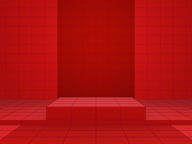 빨간색 격자 기하학적 제품 스탠드의 3d 렌더링