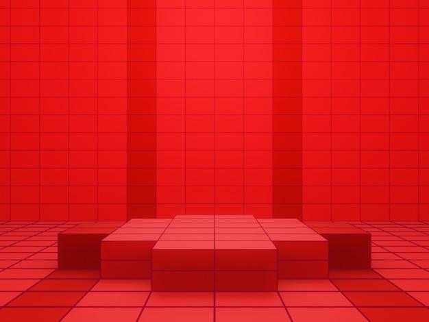 赤いグリッドの幾何学的な製品スタンドの3dレンダリング
