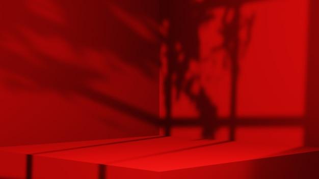 제품 배경을 표시하기 위한 레드 룸의 3d 렌더링. 쇼 제품을 위해. 빈 장면 쇼케이스 모형.