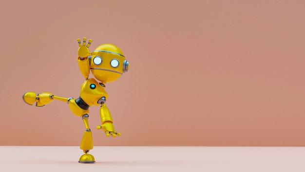 3d-рендеринг друга робота-андроида, позирующего, поздороваться с позой тела.