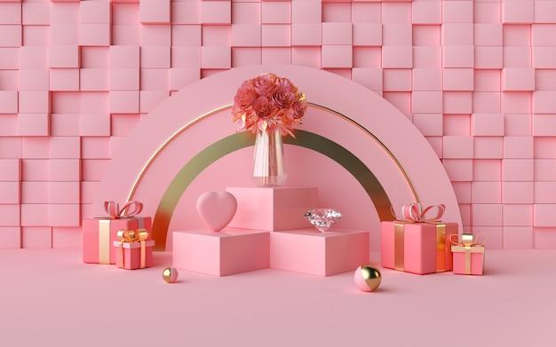 큐브 모양의 벽과 로맨틱 핑크의 3d 렌더링
