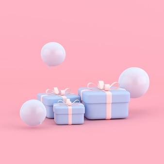 둥근 선물 상자와 풍선의 3d 렌더링입니다. 최소한의 개념.
