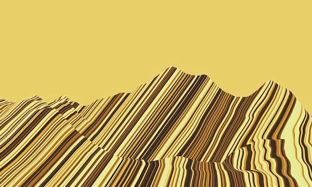 層のある堆積岩の山の3dレンダリング