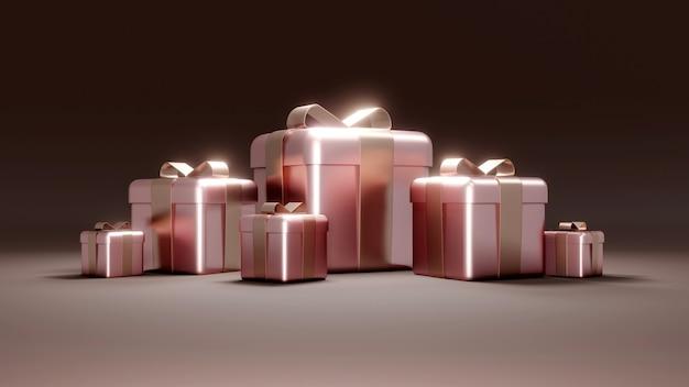 休日の誕生日プレゼントのラップされたギフトボックスの概念のセットの3dレンダリング