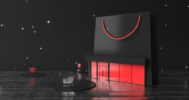 3d-рендеринг корзины и магазина.