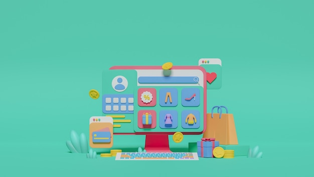 3d-рендеринг концепции интернет-магазина покупок