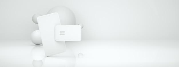 3d-рендеринг покупок в интернете с помощью телефона и кредитной карты, веб-шаблон безналичного общества, панорамный макет