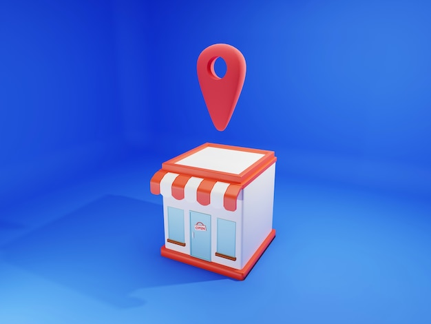 赤いポインターの場所の概念とショッピングストアの3 dレンダリング。