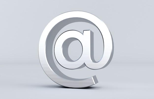 Перевод 3d серебра на знаке изолированном на белой предпосылке. arobase