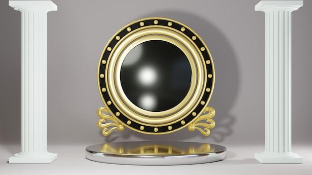 흰색 방과 그리스 기둥 배경에 제품을 표시하기 위한 은색 연단의 3d 렌더링. 쇼 제품에 대한 모형.