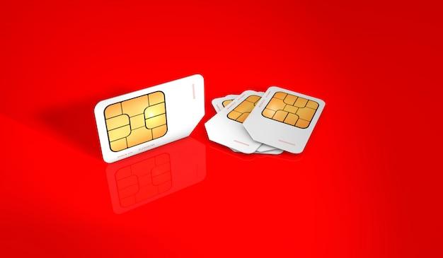 빨간색 배경에 휴대 전화에 대한 sim 카드의 3d 렌더링