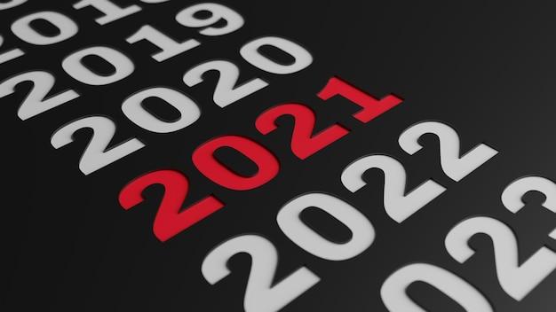 シンプルな2021年の新年のイラストの3dレンダリング