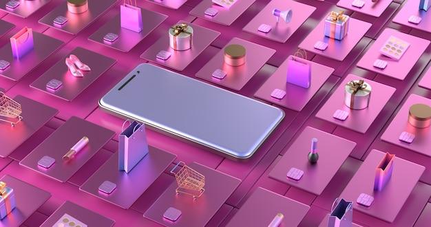 스마트 폰 및 신용 카드의 3d 렌더링입니다.