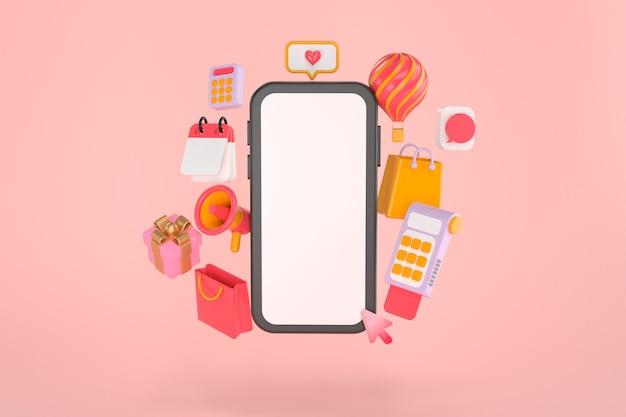 スマートフォンとオンラインショッピングの3dレンダリング。