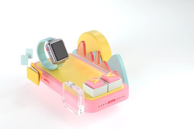 スマートフォンとスマートウォッチの3dレンダリング。